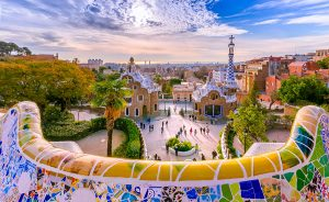 Colorful Park Guell in Barcelona